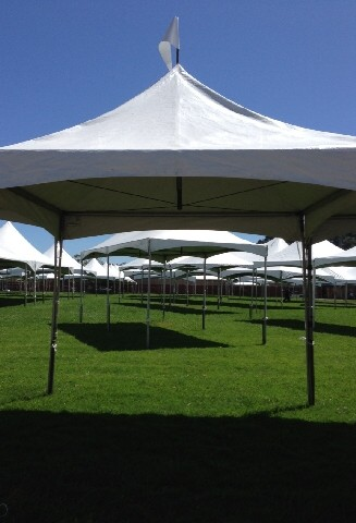Image from the fairgrounds as the small tents are erected for the art exhibits
